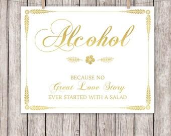 Gold Foil Wedding Sign Alcohol 8x10 5x7 Wedding Sign Bar Drinks Instant Download Digital File