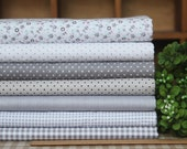 Grey series floral dot stripe cotton fabric bundle patchwork fabric bundle Quilted bundle doll's clothes fabric fat quarter  (7pcs/set)