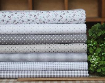 Grey series floral dot stripe cotton fabric bundle patchwork fabric bundle Quilted bundle doll's clothes fabric fat quarter  (7pcs/set)