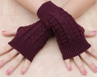 Knitted Arm Warmers, BURGUNDY Arm Warmers, Fingerless Gloves, knit Hand Warmers