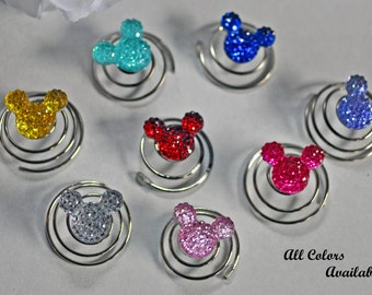 Mouse Ears Hair Coil Twist Swirls (6) U Pick Color All Occasion, Wedding Party, Bride, Cheer, Proms, School or Special Event