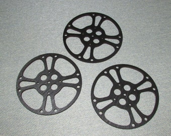 "Three 6"" Movie Film Reel Laser Cut Wood Wall Decor"