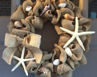 Burlap Beach Wreath, Burlap Wreath, Beach Wreath, Seashell Wreath, Nautical Wreath