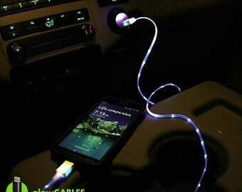 Samsung Galaxy S5 Custom Blue Led Usb Cable Cell Mobile Phone Charger Car