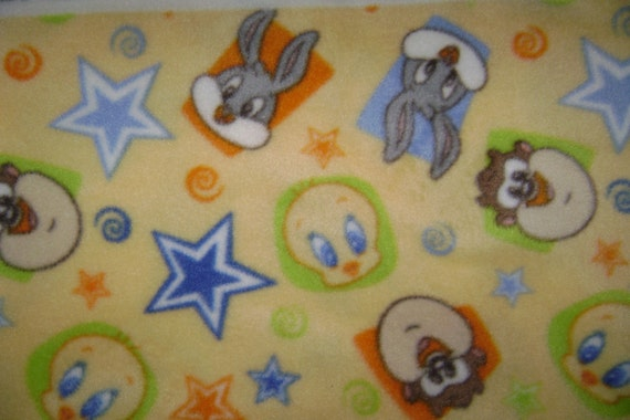Baby loony toons fleece fabric by the yard by ccsdodads on for Children s flannel fabric by the yard