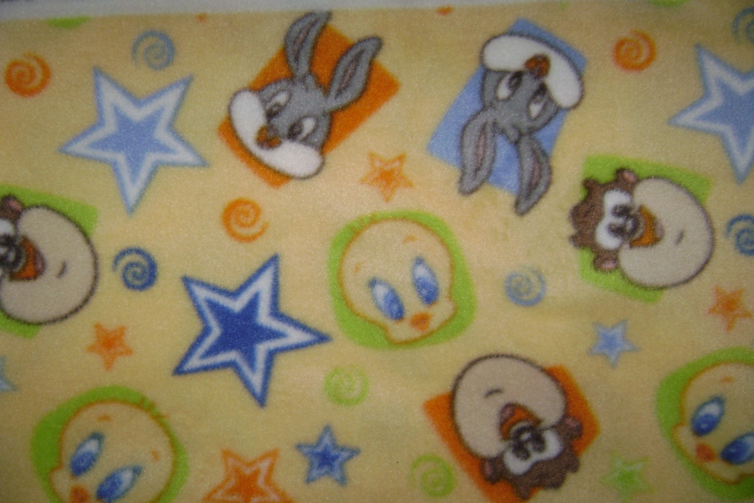 baby loony toons fleece fabric by the yard by ccsdodads on etsy. Black Bedroom Furniture Sets. Home Design Ideas