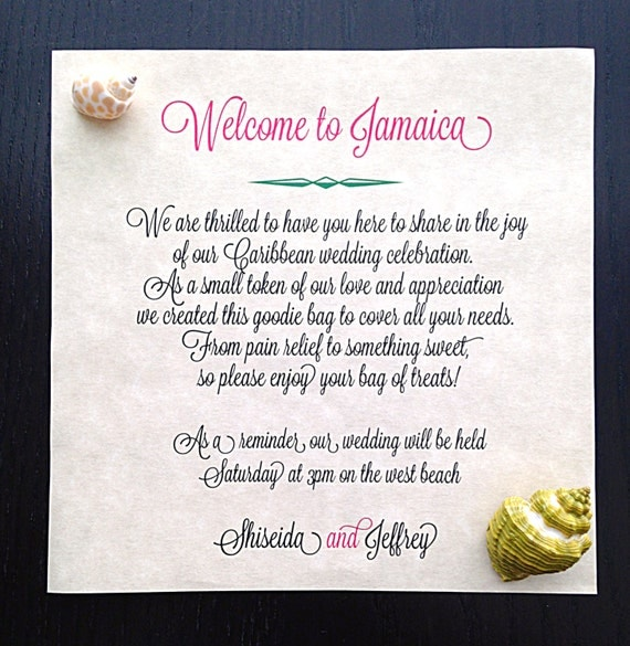 Message In A Bottle Note Destination Wedding Welcome Note