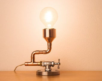 PIPESTORY - Pipe lamp / Copper lamp / industrial Lamp / Steampunk Light / Table Lamp