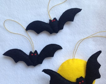 Set of 3 Handmade Felt Halloween Ornament