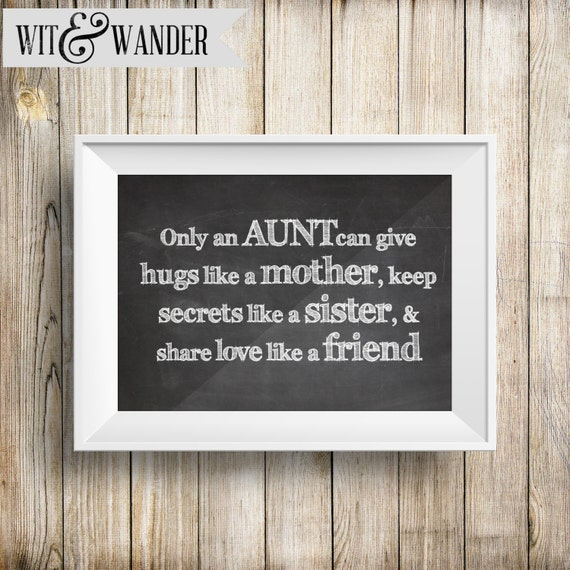 Only An Aunt INSTANT DOWNLOAD 5x7 Printable Chalkboard Art Print, Aunt and Niece Gift, Baby Shower Thank You