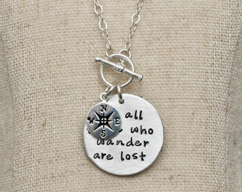 Not all those who wander are lost necklace | compass charm necklace | graduation gift | Gift