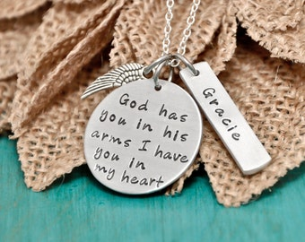 memorial necklace, rememberance necklace, God has you in his arms I have you in my heart, mom , dad, child