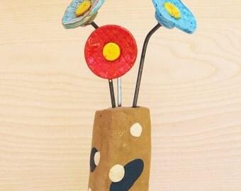 ceramic vase and flowers set