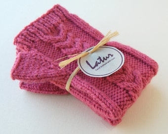 Holiday Gift for Women, Cable Maroon Fingerless Arm Warmers