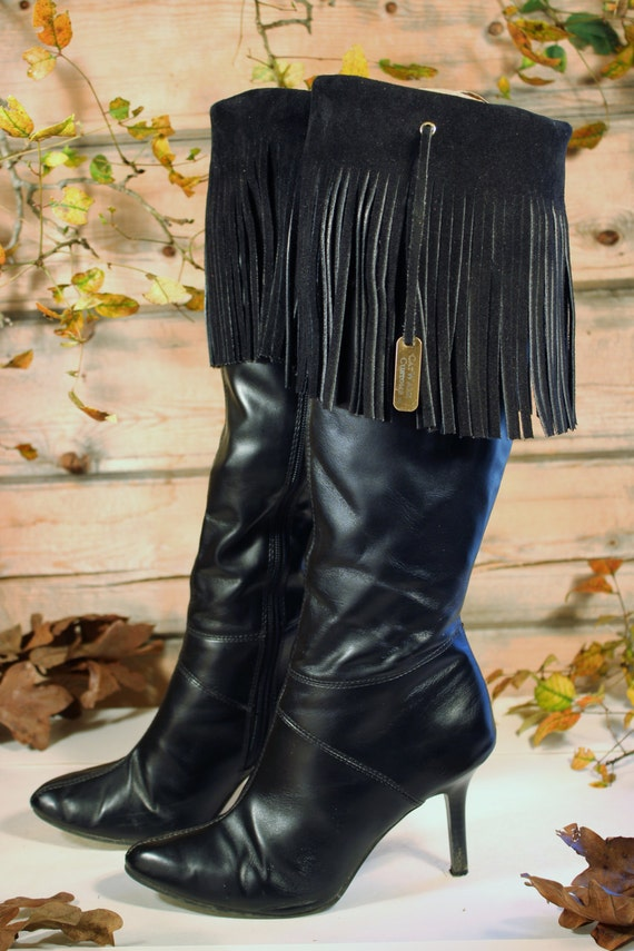 Leather Fringe Boot Cuffs Black suede boot cuff fringe boot