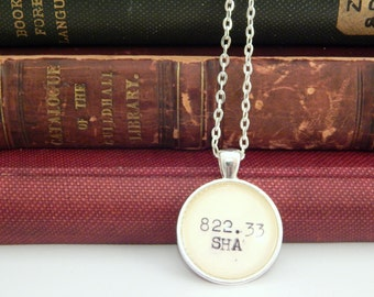 Gift under 20, Shakespeare necklace, Dewey Decimal system, library catalog necklace, Shakespeare books, stocking stuffers, secret santa gift