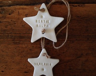 Name and birth date clay star garland with free personalisation ~ nursery decoration ~ nursery decor ~  new baby gift ~ Mother's Day gift