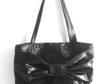 Kate Spade inspired purse. Beautiful woman's shoulder bag. Metallic coated black denim tote. Woman's classic purse.