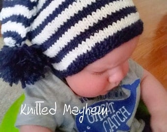 hand knit, stripe, long tail stocking caps