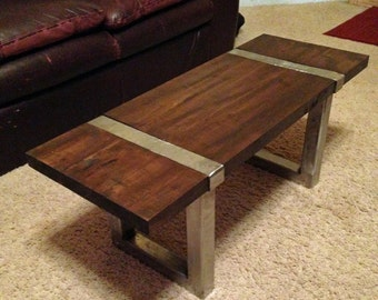 Metal Wrapped Coffee Table - Wood and Steel.
