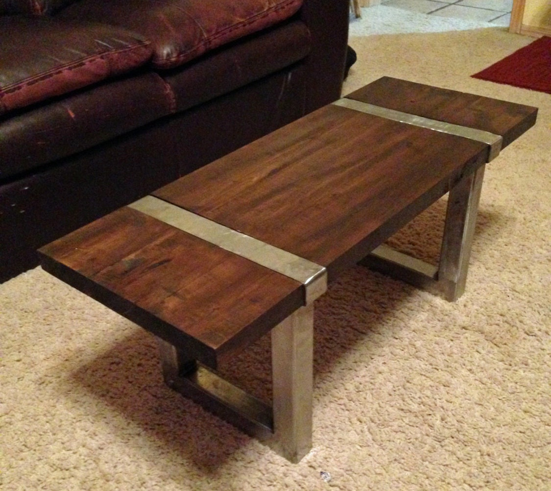Metal Wrapped Coffee Table Wood And Steel