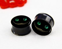 Pairs  cat  ear   plugs ,Tunnel  GaugeExpander  Body Jewelry  ,Black  Titanium ear plugs, screw on ear plugs,0g,00g ,2g  plugs gauges,