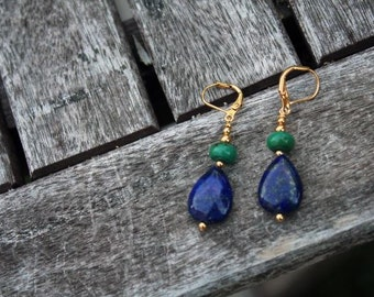 Holiday Sale! Gorgeous Blue Lapis Lazuli with Green Turquoise Gold Earrings