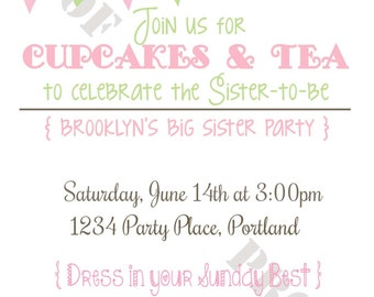 Big Sister Tea Party Personalized Party Invitation (Printable Digital File)