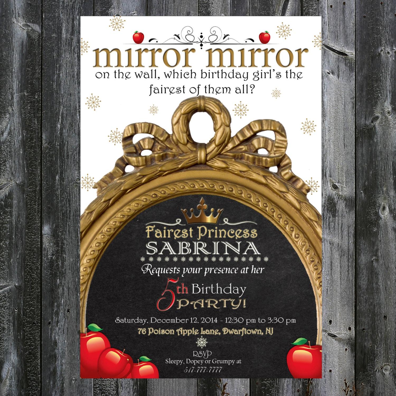 Snow white inspired birthday invitation mirror mirror zoom amipublicfo Choice Image