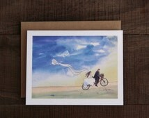 Ride of Your Life -  wedding card , watercolor print, tandem bike, bride & groom, blank inside