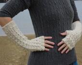 Fingerless gloves, fingerless mittens - 100% WOOL, long, lace crochet, elegant half finger, wrist warmers, MADE to ORDER