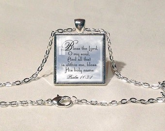 BIBLE QUOTE NECKLACE Psalm 103:1 Bible Jewelry Scripture Verse Necklace Bible Pendant Faith Jewelry Christian Gift Old Testament Quote