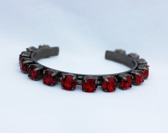 Ruby Red 8mm Swarovski Crystal Adjustable Bracelet