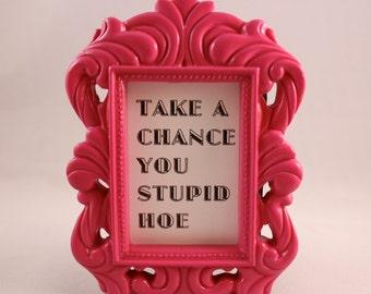 Custom Framed Lyrics Gwen Stefani Quote Take a Chance You Stupid Hoe motivational home decor gift dorm office desk decor ornate funny humor