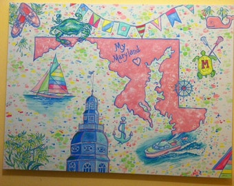 My Maryland, is a original, HUGE PAINTING 36 x 48 inches, colorful painting