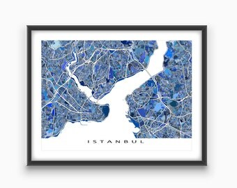 Istanbul Map Print, Istanbul Art, Istanbul Turkey, Travel Maps