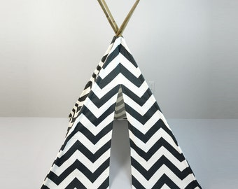Kids Teepee Play Tent in Charcoal Gray and White Large Chevron Zig Zag Tipi
