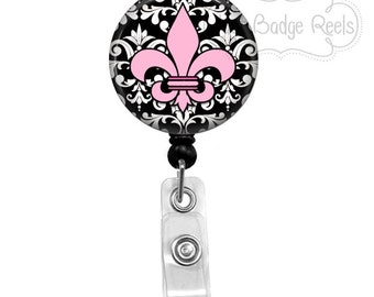 Badge Holder - Fleur de lis Badge Reel - fleur de lis  Badge Holder - Retractable Badge Reel - Nurse Badge Holder