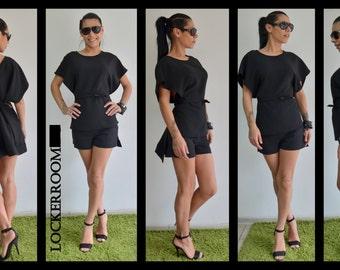 Black maxi blouse / Extravagant Woman Tunic / Black maxi top / Black oversize Top