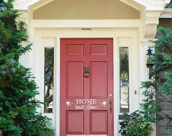 """Front Door Decoration Home Sweet Home Decal Sign Custom Vinyl Saying Monogram 14"""" x 4"""""""