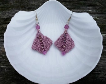 Beaded Knit Earrings: Dusty Pink with Glass Beads