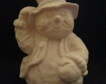 Porcelain Bisque - Ready to Paint Ornament SNOWMAN Tipping Hat
