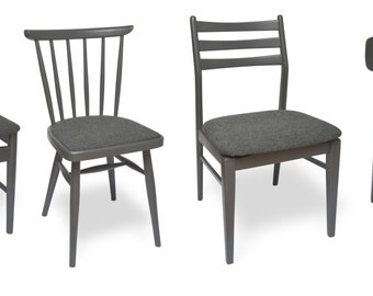 Set of 4 mismatched dining chairs - 50s, 60s and 70s period