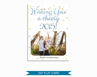 Pretty New Years Card Template - 5x7 Photo Card - Photoshop Template - INSTANT DOWNLOAD or Printable - NY04
