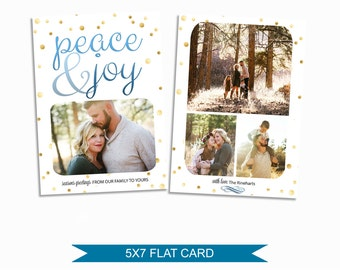 Christmas Card Template - 5x7 Photo Card - Photoshop Template - INSTANT DOWNLOAD or Printable - CC03