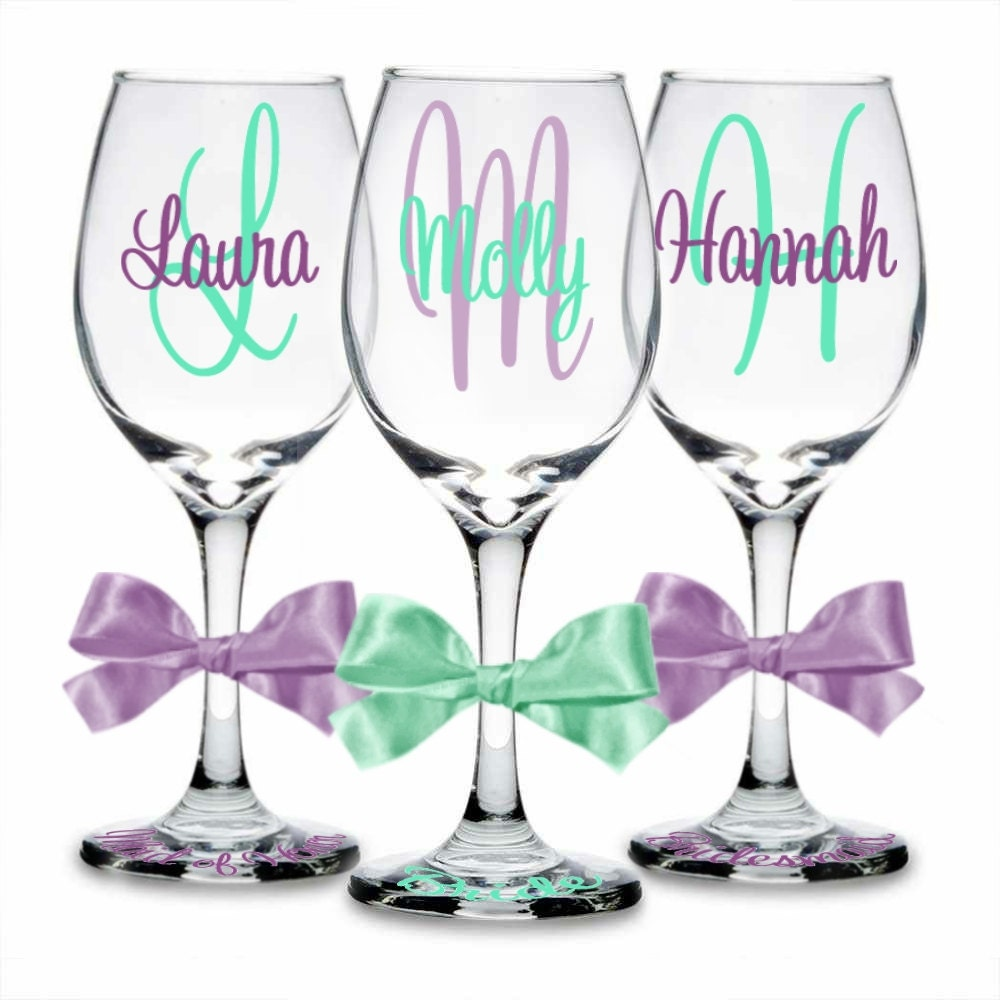 8 Personalized Wine Glasses For Bride Groom Bridesmaid And
