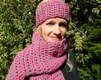 SALE Crocheted Scarf, Handmade Scarf, Winter Scarf, Pink Handmade Scarf, Grady Handm,ade Scarf - Pink and Gray