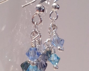 Shades of Blue Crystal Cascade Earrings