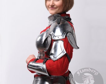 "Larp, Female Armor ,Fantasy, Elf, Elven Costume ""Flamberg"" steel  armor for women: pauldrons, shoulders"