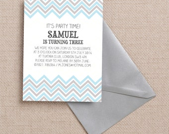 Blue, Grey and White Chevron Kids Party Invitation Cards